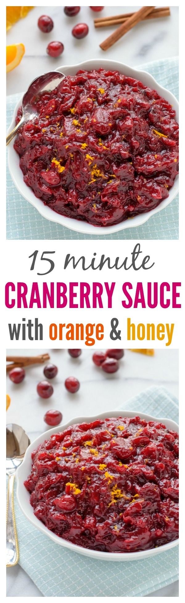 Cranberry Sauce from scratch! Ready in only 15 minutes. Once you try this recipe, you'll never use the can again!