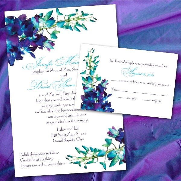 PURPLE & PEACOCK DIY Wedding Invitations | Blue And Purple Orchid Wedding Invitations