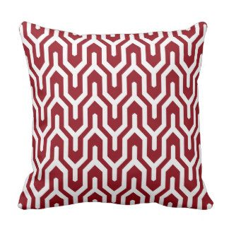 Geometric Pattern Pillow Crimson Red and White