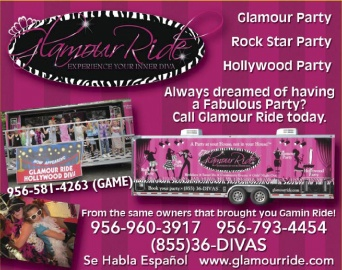Experience Your INNER DIVA!    From the same owners of Gamin Ride!         Choose from one of our Exciting Party Themes  Glamour Diva  Rock Star Diva  Hollywood Diva  Spa Diva  Also, ask us about our GTP Parties for Teens    (Glamour Teen Party)         We bring the GLAM to YOU!         For more info call Us :    956-960-3917, 956-793-4454, 956-581-4263 ( GAME)  www.glamourride.com
