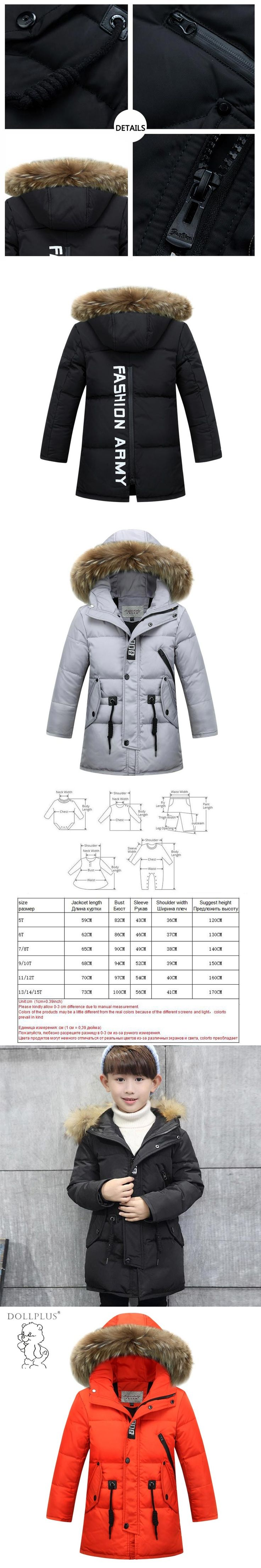 2017 Children'S Winter Jackets For Boys Down jacket Long Thick Boy Winter Coat Down Kids Outerwear Fur Collar Big Kids Clothing