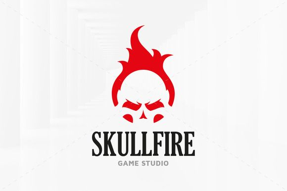Fire Skull Logo Template by LiveAtTheBBQ on @creativemarket