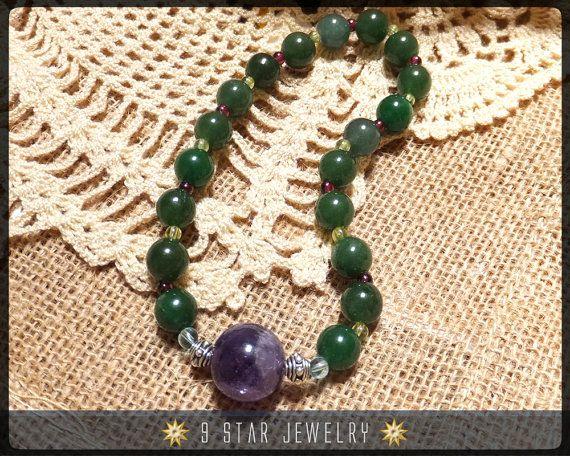 """Baha'i Prayer Beads Alláh-u-Abhá """"Amity"""" Unique by 9StarJewelry #bahai #bahaiprayerbeads #gemstone #amethyst #jade #9starjewelry"""