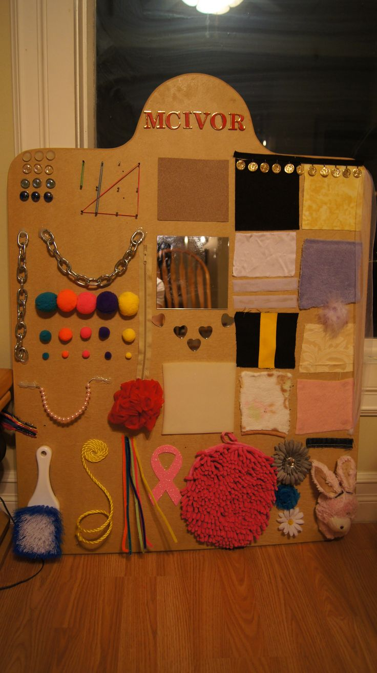Homemade Sensory Board!! Magnets, Snaps, Velcro, Textures, Zipper, Etc.