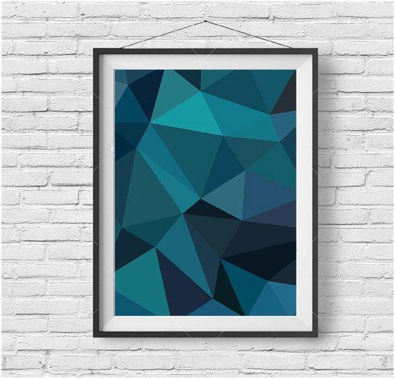 Dark Teal Wall Art, Dark Teal Print, Dark Teal Poster, Dark Teal Home Decor, Geometric Print, Geometric Wall Art, Poly Wall Art, Poly Print