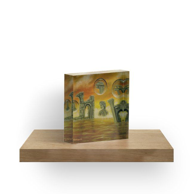 Interior Decor, Inspiration, ideas, items, for sale, colorful, orange, golden, ancient, ruins, temples, sea, sunset, sky, fantasy, unique, impressive, cool, artistic, acrylic block