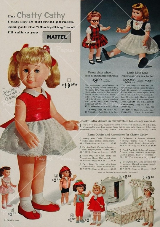 1960's ad  Sew new doll clothes for my Chatty Chathy..sill have the sweet doll.  My Chatty has the dark hair .blue eyes.  looks a lot like I did as a child. A gift from my sweet Grandma Louise