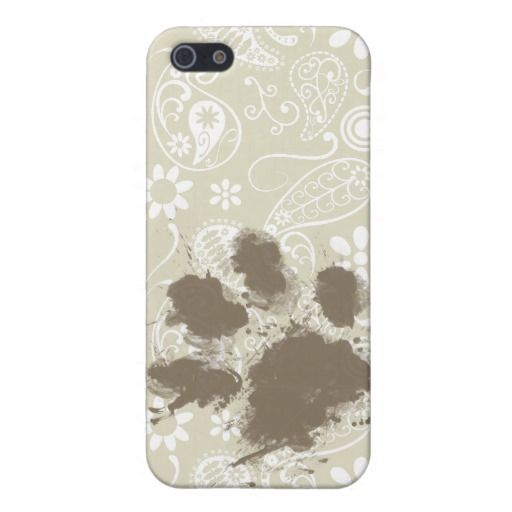 Funny Pawprint on Ecru Paisley iPhone 5 Cover