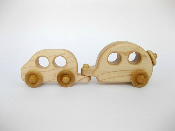 Wood Toy Car and Camper Set Natural Maple Hitch up the camper and lets go! This cute little car with detachable camper is fun to scoot around