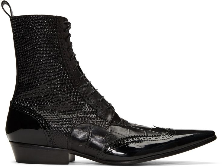 Mid-calf grained, patent, and croc-embossed leather boots in black. Perforated and serrated detailing throughout. Pointed toe. Lace-up closure. Pull-tab at heel collar. Stacked cuban heel. Tonal leather sole. Tonal stitching.