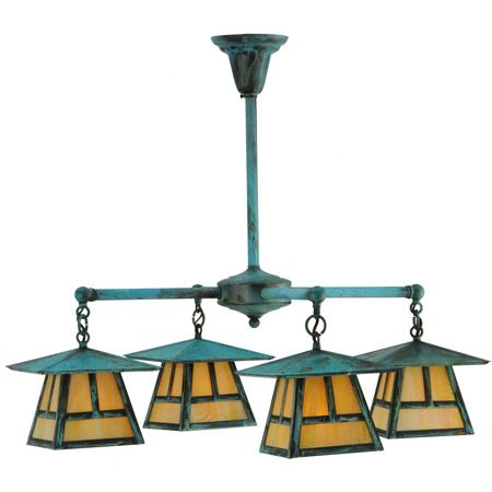 Stillwater craftsman chandelier with verdegris finish.