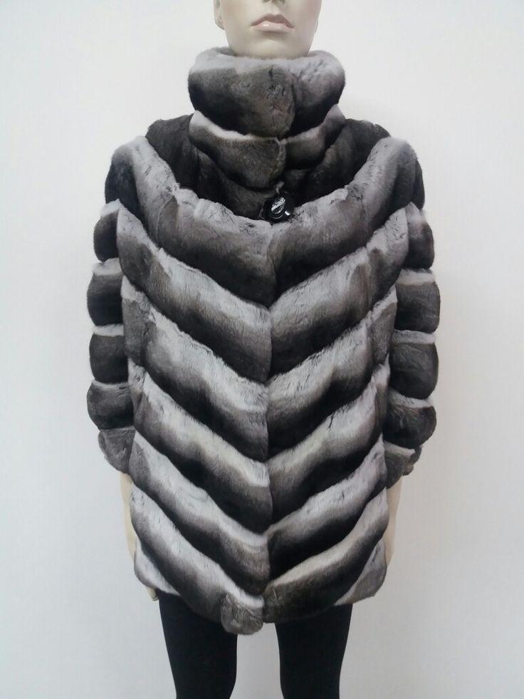 natural chinchilla fur jacket hand made in kastoria Greece