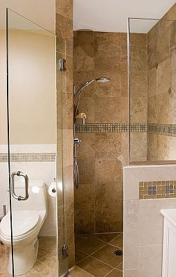 Corner Shower And Free Standing Toilet Designs For Small
