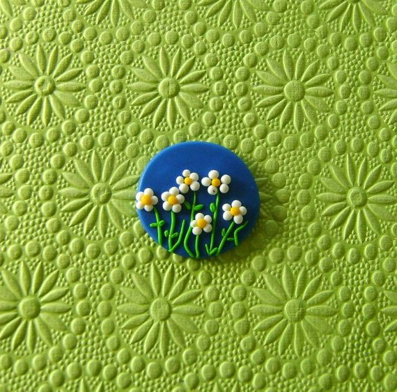 Garden Brooch or Magnet - Daisy Flowers over deep blue sky - Fimo Polymer Clay