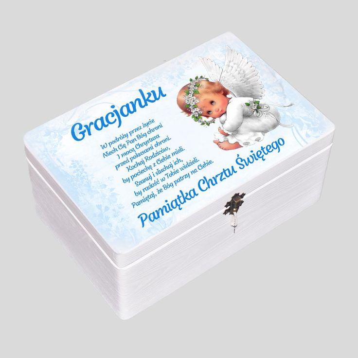 #pudełkowspomnień kuferek na chrzest, prezent na chrzest dla chłopca