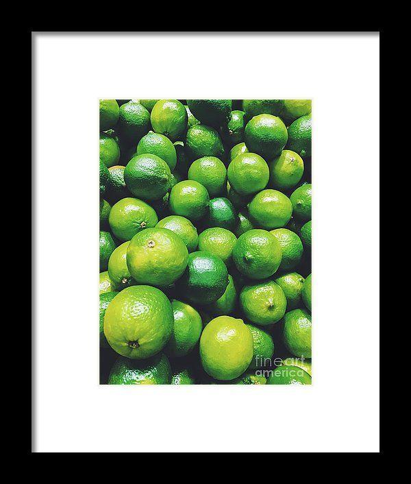 Lime Citrus Fruits In Fruit Market Framed Print