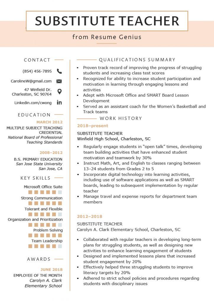 Substitute teacher job description resume 2021 teacher