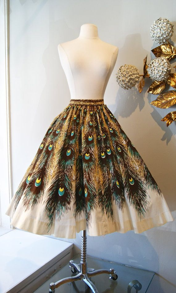 50s Peacock Print Circle Skirt / Vintage 1950s by xtabayvintage