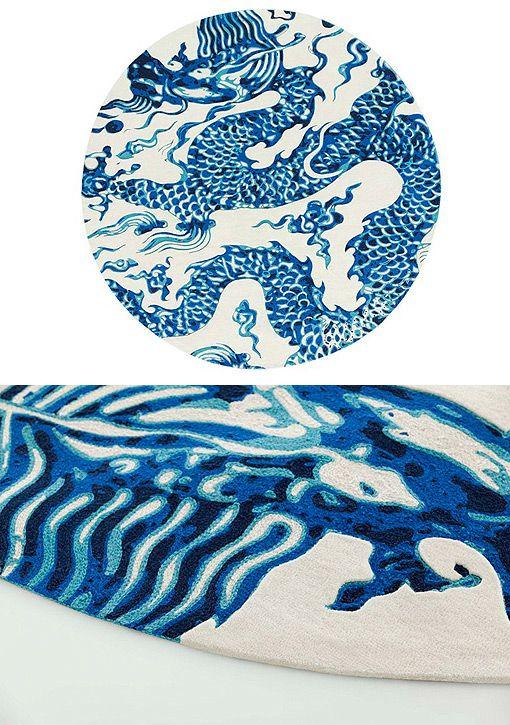 Alfombras de lana modernas blue china de gan by gand a - Telas para alfombras ...