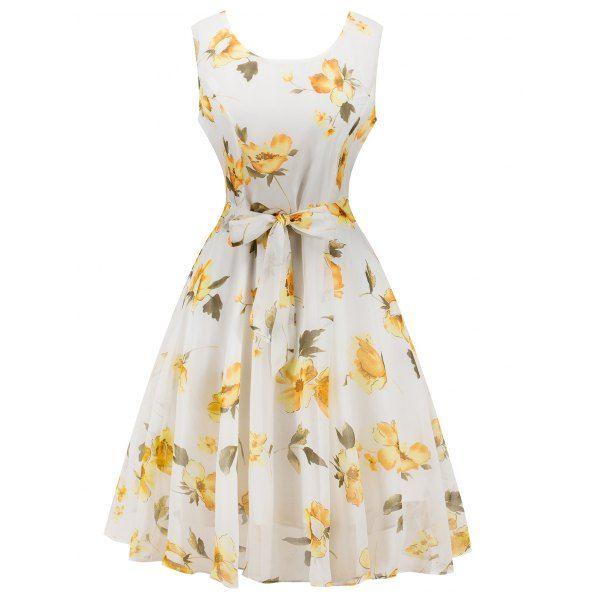 Chiffon Fl Knee Length Belted Flare Dress