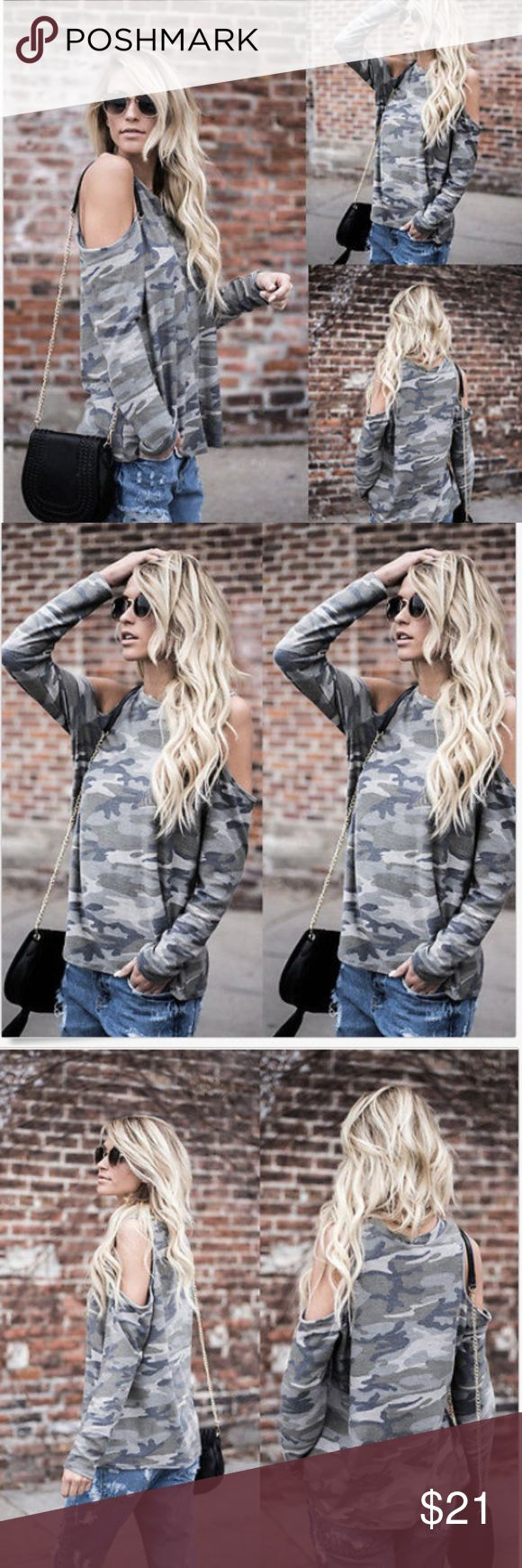 Got camo? Cold Shoulder Long Sleeve Tee New Arrival, part of the fall collection! Camo long sleeve, cotton blend, super soft, cold shoulder, relaxed fit, just in time for the log sleeve weather... 20%off bundles of 2+  stay tuned @lachulaboutique Boutique Tops Tees - Long Sleeve