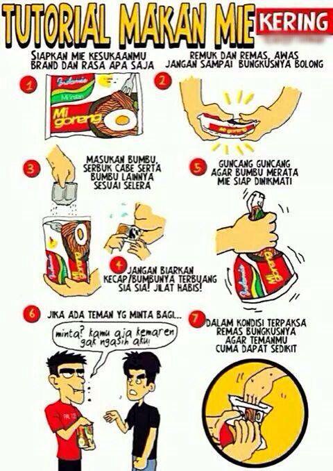 tutorial makan mie kering