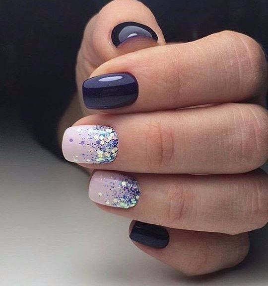 47 playful glitter nails that shines from every angle - Gel Nail Design Ideas