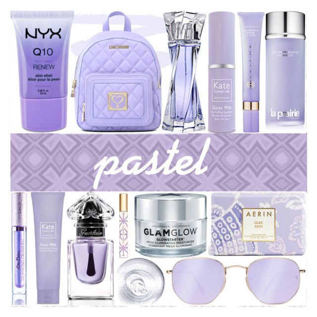Lavender by counterkitty on Polyvore featuring polyvore, schoonheid, Lime Crime, Lancôme, Tory Burch, NYX, La Prairie, GlamGlow, Kate Somerville, Tatcha, Estée Lauder, Guerlain, Ray-Ban, Love Moschino, pastel, contestentry and pastelmakeup