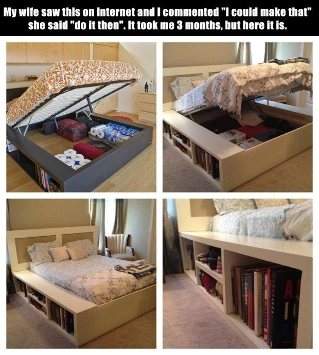 1000 images about bedroom diy storage bed headboard on pinterest diy headboards diy for Diy storage ideas for small bedrooms