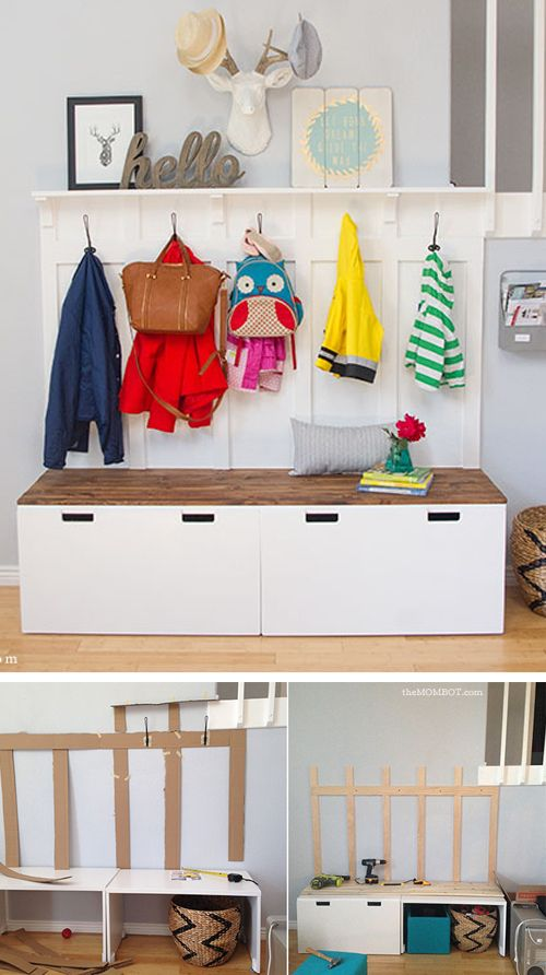 ikea hack diy mudroom benches diy crafts pinterest bench storage ikea hack and mudroom. Black Bedroom Furniture Sets. Home Design Ideas