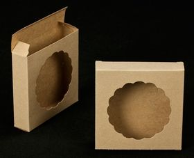 Brown/Brown with Round Window Reverse Tuck Box~Great idea for your cookies