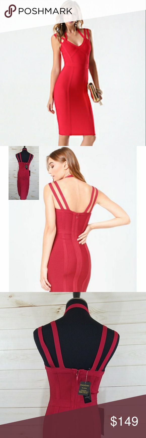 "Bebe *Stunning* Strappy Red Bandage Dress Sale! This Heart Attack Inducing Stunning Bebe Red Bandage Dress Will Turn Heads And Melt Hearts!!!. Sexy, triple strapped club or cocktail dress in a midi length. This dress shows off every curve you want seen. Hidden zipper. Brand New With Tags!!!  86% Rayon, 14% spandex  Hand wash  Imported  Center back to hem: 29"" (74 cm) bebe Dresses Midi"