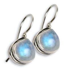 Complement any outfit with handmade jewelry skillfully crafted by women freed from exploitation. These earrings feature tear-drop moonstone beads intricately wrapped by silver-tone wires on sterling s