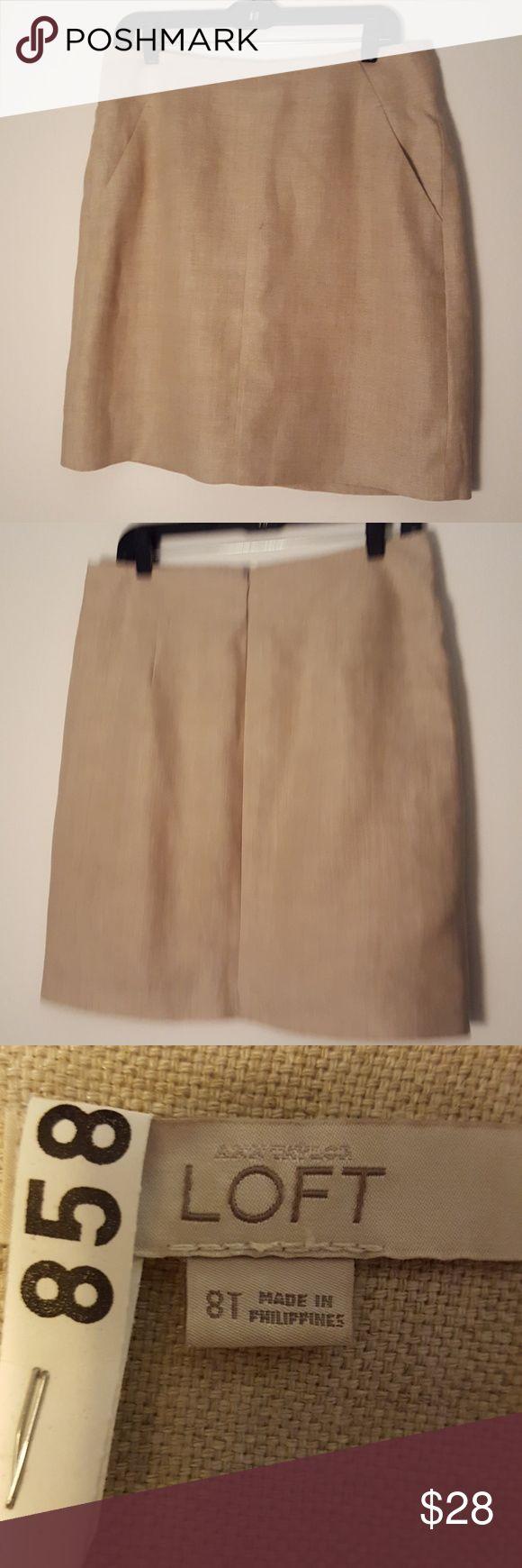 Linen skirt Soft linen Loft tan pencil skirt. Super comfy! LOFT Skirts Pencil