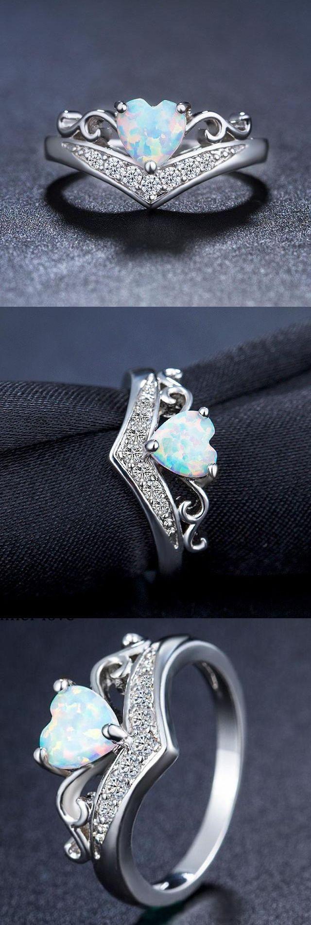 Elegant Heart Opal Ring