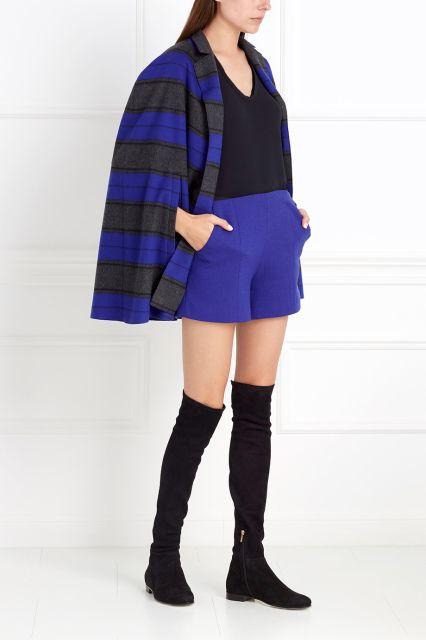 Шерстяные шорты Chapurin - Яркие короткие шорты насыщенного синего цвета из коллекции знаменитого российского бренда Chapurin в интернет-магазине модной дизайнерской и брендовой одежды