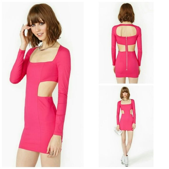 BLQ MARKET @ NASTY GAL PINK BODY ELECTRIC DRESS Unworn NWT 97% COTTON,  3% SPANDEX super sexy and stylish cutout dress. This never fit me, so It has been in my closet since I bought it,  sadly :( Nasty Gal Dresses Mini