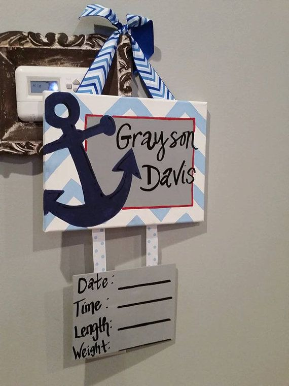 Nautical anchor Hospital Door Hanger red white and by ...