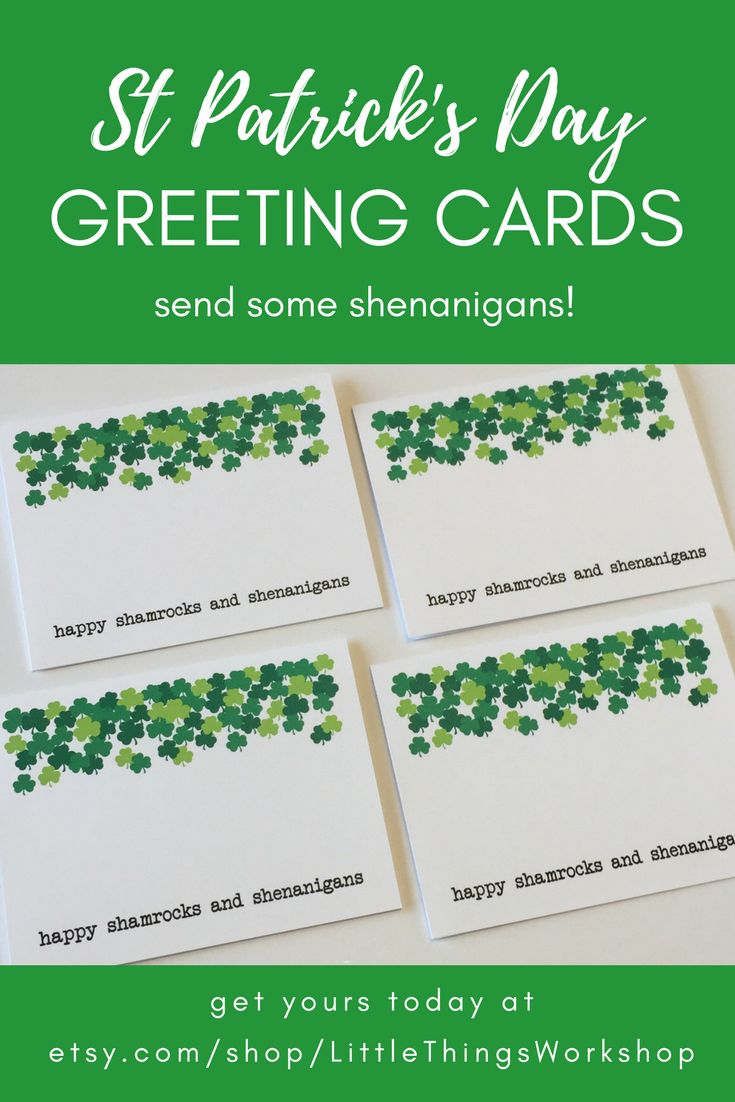 These cards are perfect for sending St. Patrick's Day greetings!