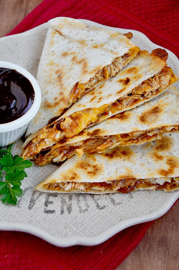BBQ chicken quesadilla- I made something very similar tonight with leftover BBQ chicken. Added black beans and sautéed onions. Yummy!