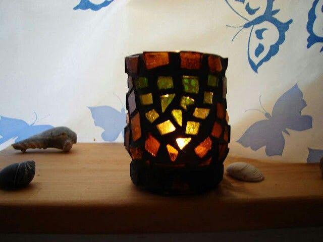 """Green Tara"" mosaic tea light candle holder - 2005 by Kevin McMahon @MosaicAvatar"