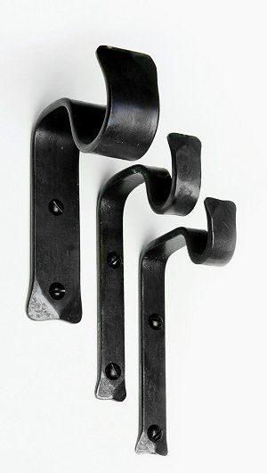 Handforged wrought iron vertical and double vertical curtain pole brackets