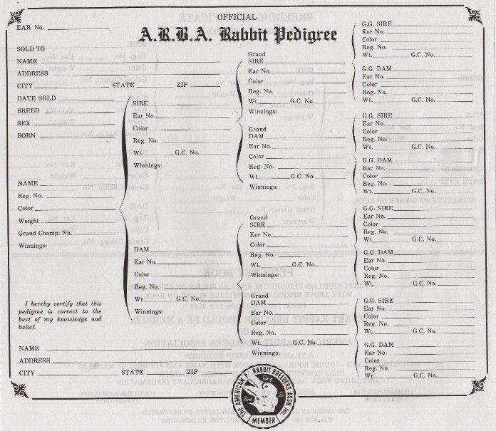Printable Rabbit Pedigree Forms