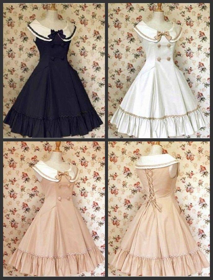 vintage+sailor+dress | Sailor Collar Vintage Dress with Shirt 50's 60's Rockabilly Lolita ...