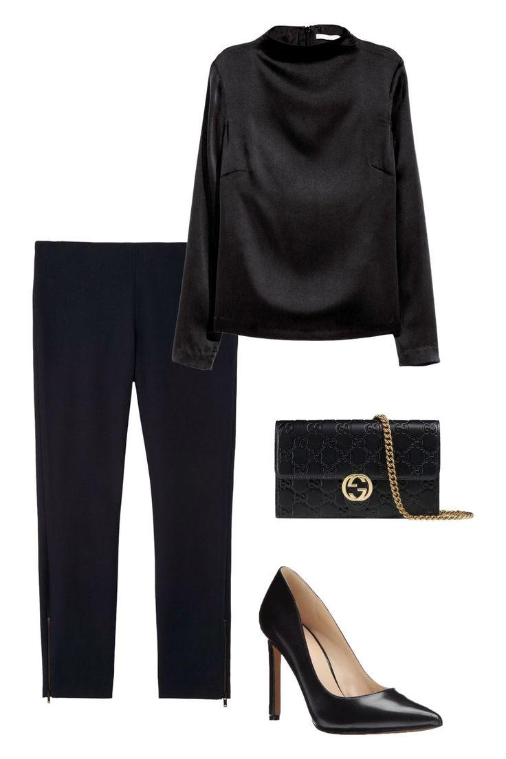 H&M silk blouse, $60, hm.com; Gucci chain wallet, $895, gucci.com; Nine West pumps, $79, amazon.com; COS trousers, $99, cosstores.com