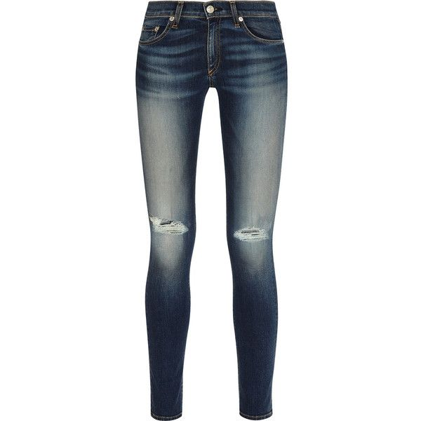 Rag & bone The Skinny distressed mid-rise jeans ($135) ❤ liked on Polyvore featuring jeans, blue, mid rise skinny jeans, destroyed jeans, blue skinny jeans, ripped blue jeans and super stretch skinny jeans