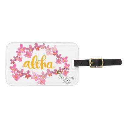 Aloha Bold Orchid Lei Bag Tag - White - travel luggage tags personalize customize your name diy