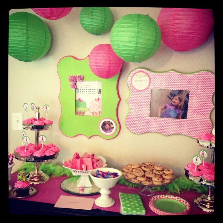 Pink and green themed girls birthday party