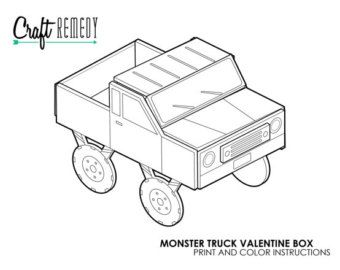 Monster Truck Valentine Box Instructions, Digital Art File, Print and Color