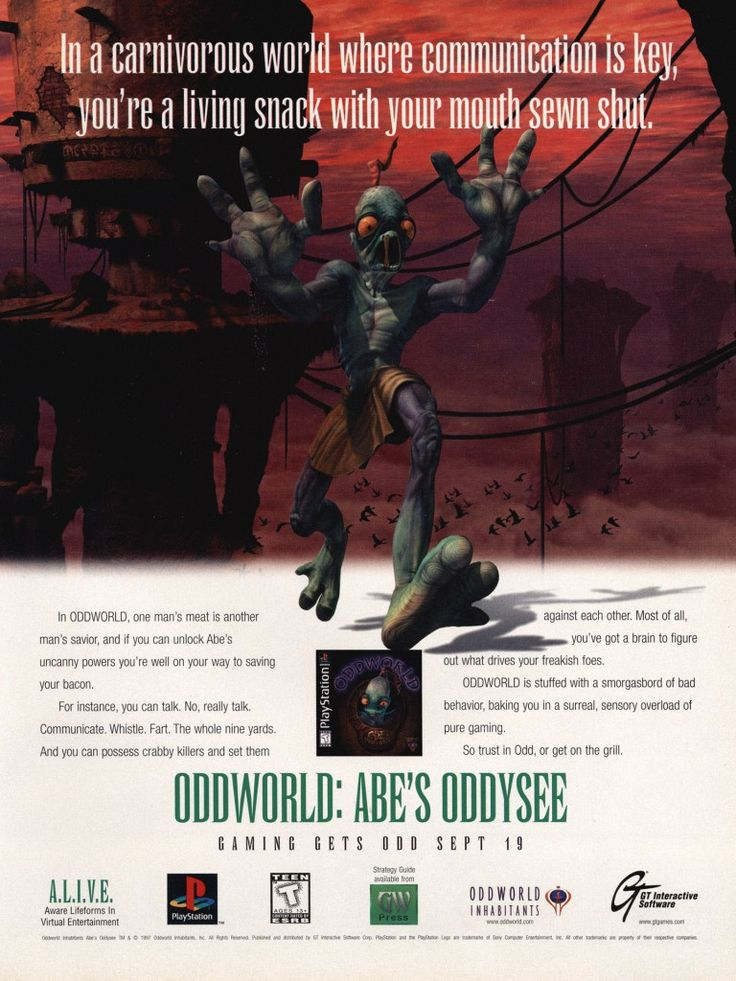 Oddworld Inhabitants' first project, Oddworld: Abe's Oddysee was pretty damn impressive upon first release, due in large to its impressive production values. A series reboot is due for release next year.